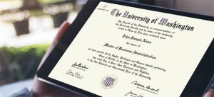 image of UW diploma, one document needed for medical board licensure